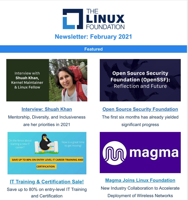 Linux Foundation Newsletter February 2021: IT Training & Certification Sale, Shuah Khan & Mentorship, OpenSSF First Six Months - Linux Foundation