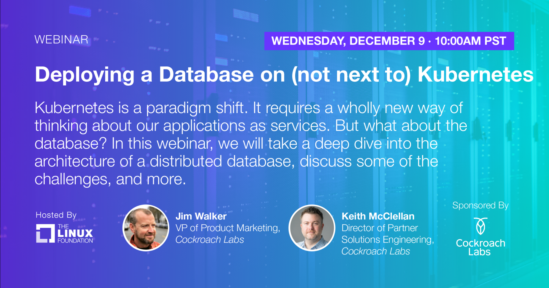 Webinar - Deploying a Database on (not next to) Kubernetes
